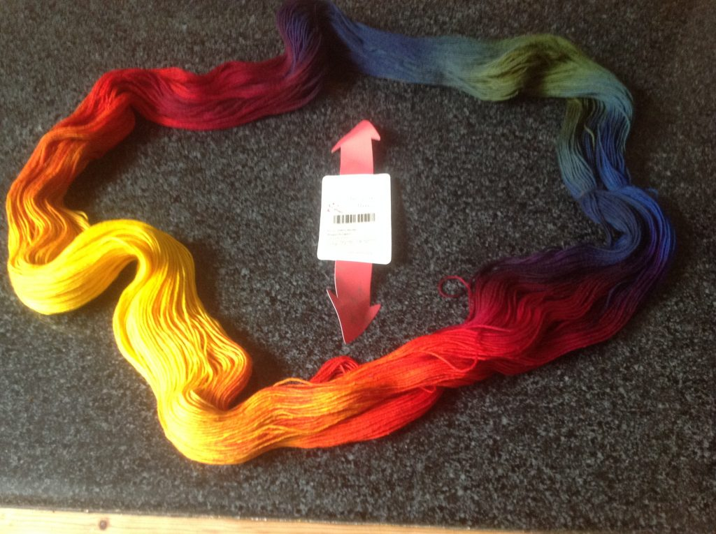 Open skien of Wollmeise yarn bright space dyes colours