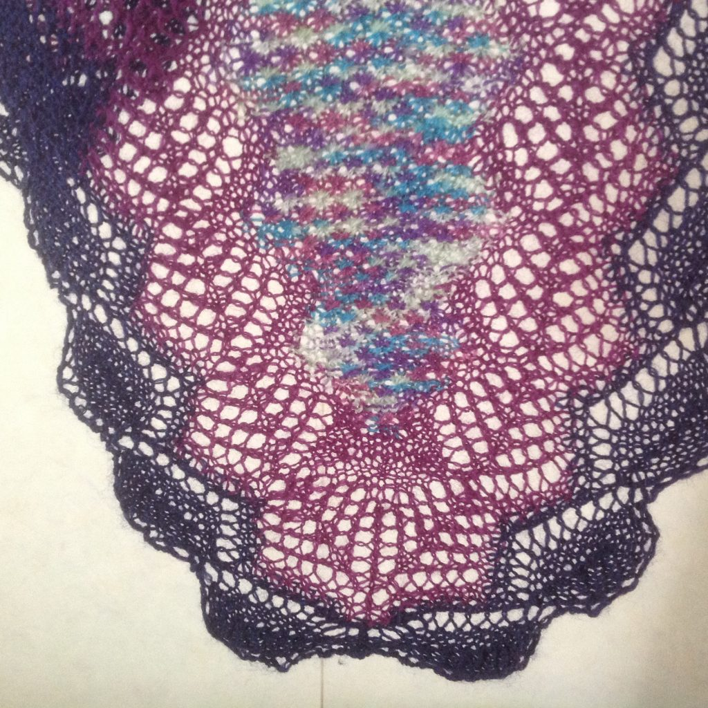 End of lace knitted scarf in three colourways