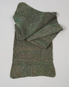 Hand spun and knit coloured wool scarf