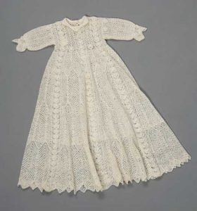 White handspun and knitted fine lace merino christening gown